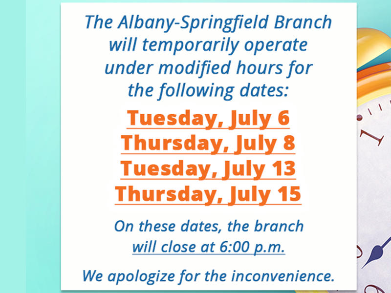 Temporarily Modified Hours for Albany-Springfield